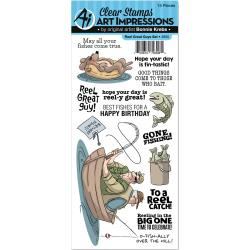 484508 Art Impressions Work & Play Clear Stamp Set Reel Great Guys