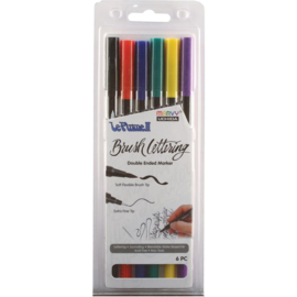 380988 Le Plume II Double-Ended Brush Lettering Marker Primary Set 6/Pkg