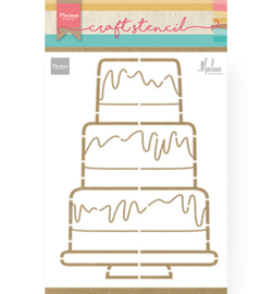 PS8057 Marianne Design Stencil Party cake by Marleen