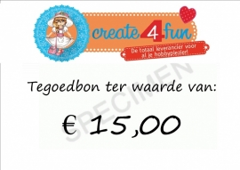 Tegoedbon ter waarde van 15,00 euro