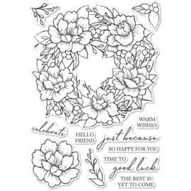 633278 Memory Box Clear Stamps Peony Garden Wreath