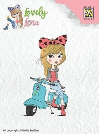 130511/0403 Nellies Choice Clearstempel Lena op de scooter