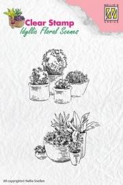 130510/2203 Nellie`s Choice Clearstamp - Idyllic Flora Potten met bloemen