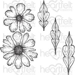 444608 Heartfelt Creations Cling Rubber Stamp Set Sweet Peony-Large