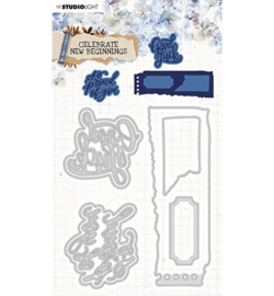 STENCILCNB374 StudioLight Cutting & Emb. Die Cardshape Celebrate new beginnings nr.374