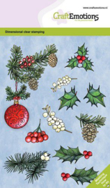 130501/0103 CraftEmotions clearstamps A6 - Kerstbal met takjes en besjes GB Dimensional stamp