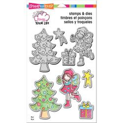 "021505 Stampendous Pink Your Life Stamp & Die Set Whisper Friends-Decorate 9""X5.25"""