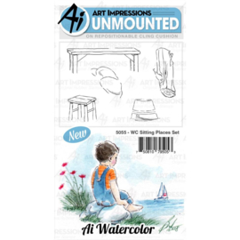 571534 Art Impressions Watercolor Cling Rubber Stamps Sitting Places