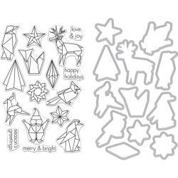 201647 Hero Arts Clear Stamp & Die Origami Holiday