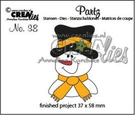 115634/0608 Crealies Partz no. 38 Sneeuwpop CLPartz38 37 x 58 mm