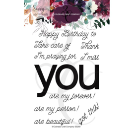 "624367 Colorado Craft Company Clear Stamps You Greetings-Savvy Sentiments 4""X6"""
