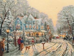 434949 Borduurpakket Thomas Kinkade A Holiday Gathering