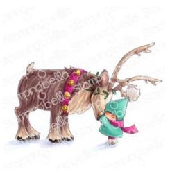 606563 Stamping Bella Cling Stamps Bundle Girl W/Reindeer