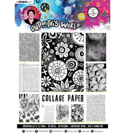 ABM-OOTW-PP15 - ABM Collage Paper Pattern Paper Back & White Out Of This World nr.15
