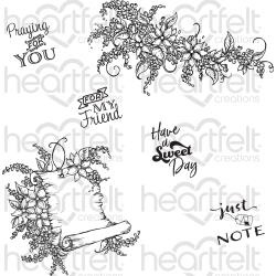 255035 HCPC3818 Heartfelt Creations Cling Rubber Stamp Set Sweet Lilac Scroll & Notes