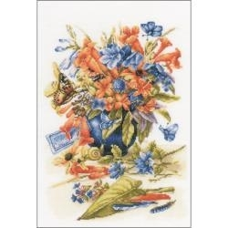 519333 LanArte Flower Vase On Fabric Counted Cross Stitch Kit