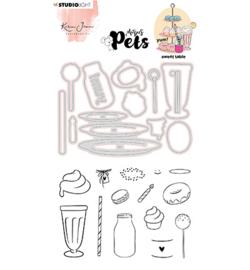 KJ-MBKJ-SCD11  KJ Stamp & Cutting Die, Complete Pets Sweet table Missees nr.11