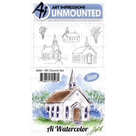 571589 Art Impressions Watercolor Cling Rubber Stamps Church