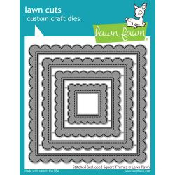 LF1720 Lawn Cuts Custom Craft Die Stitched Scalloped Square Frames