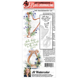 605047 Art Impressions Bible Journaling Watercolor Rubber Stamps Praise Instruments