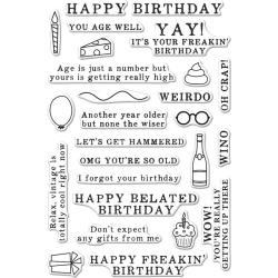 """HA-CM143 Hero Arts Clear Stamps Irreverent Birthday Messages 4""""X6"""""""