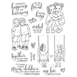 "638645 Hero Arts Clear Stamps Kids United 6""X8"""