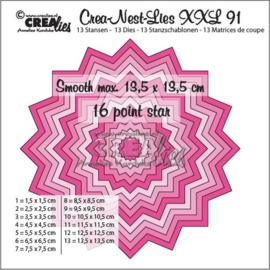 115634/0191 Crealies Crea-Nest-Lies XXL no 91 gladde 16 puntige ster