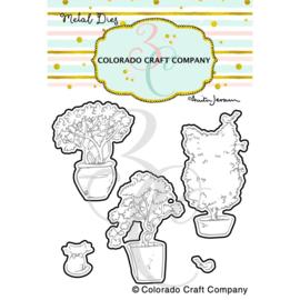 652986 C3AJ454D Colorado Craft Company Metal Die Set Topiaries & Kitten-By Anita Jeram