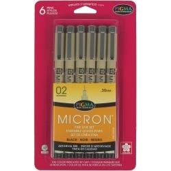 194116 Pigma Micron Pens 02 .3mm Black 6 stuks