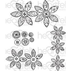 "553012 Heartfelt Creations Cling Rubber Stamp Set Buttons & Blooms 5""X6.5"""