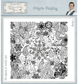 SYR025 Pre Cut Rubber Stamp Ornate Paisley