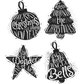 CMS 314 Tim Holtz Cling Stamps Carved Christmas #2