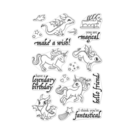 "602691 Hero Arts Clear Stamps Dragons & Unicorns 4""X6"""