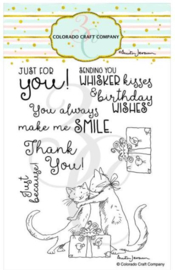 """C3AJ549 Colorado Craft Company Clear Stamps Whisker Kisses-By Anita Jeram 4""""X6"""""""