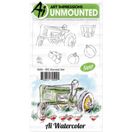 571590 Art Impressions Watercolor Cling Rubber Stamps Harvest