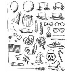 CMS-LG-237 Tim Holtz Cling Rubber Stamp Set Crazy Things