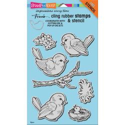 "247773 Stampendous Cling Stamp W/ Template Spring Tweets 9""X5.25"""