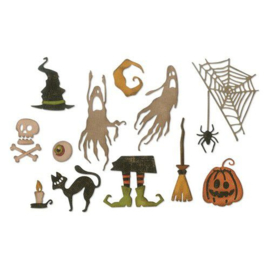 664209 Sizzix Thinlits Die Set 16PK Frightful Things  Tim Holtz