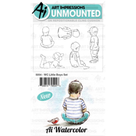 571533 Art Impressions Watercolor Cling Rubber Stamps Little Boys
