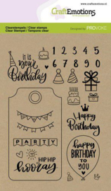 130501/2504 CraftEmotions clearstamps A6 Birthday Provoke