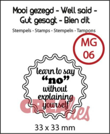 130505/0106 Crealies Clearstamp Mooi gezegd (UK) no. 6 learn to say no 33x33mm