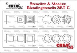 CLSTMBLSETC Crealies Stencilzz/Maskzz 4x Slimline glad en ruwe randen