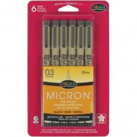 194117 Pigma Micron Pens 03 .35mm Black 6 stuks