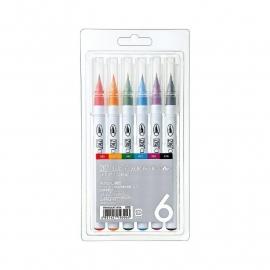 RB-6000AT/6V Zig Clean Color Real Brush Markers 6/Pkg