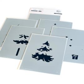 PF127121 Pinkfresh Studio Stencils Under The Christmas Tree Layering