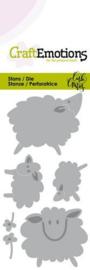 115633/0264 CraftEmotions Die Sheep schapen Card 5x10cm Carla Creaties