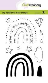 130501/2211 CraftEmotions clearstamps A6 handletter Rainbow 3 - regenbogen  Carla Kamphuis