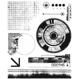 "CMS 403 Tim Holtz Cling Stamps Glitch 1 7""X8.5"""