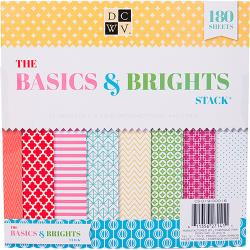 "210170 DCWV Paper Stack Basics & Brights 8""X8"" 180/Pkg"