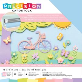 "AC354129 American Crafts Precision Cardstock Pack 80lb Pastel/Textured 12""X12"" 60/Pkg"